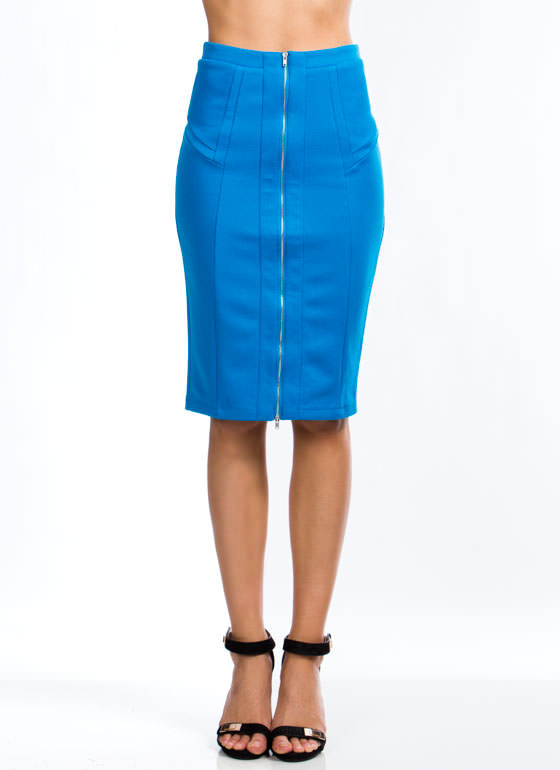 Expose Yourself Midi Skirt BLUE (Final Sale)