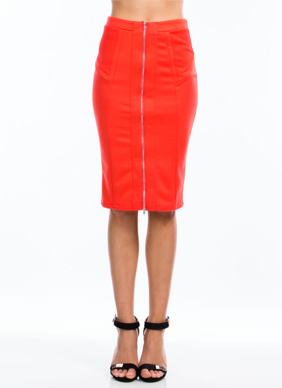 Expose Yourself Midi Skirt ORANGE (Final Sale)