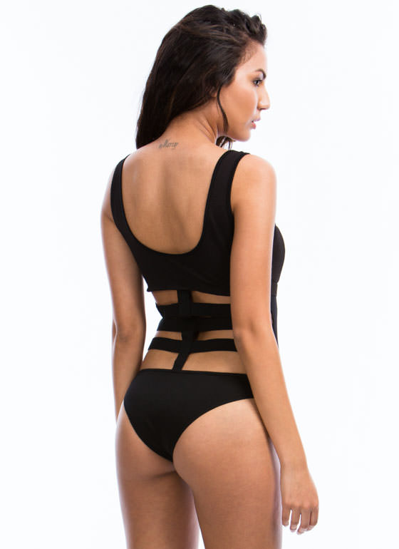 Rattle Your Cage Mesh Bodysuit BLACK