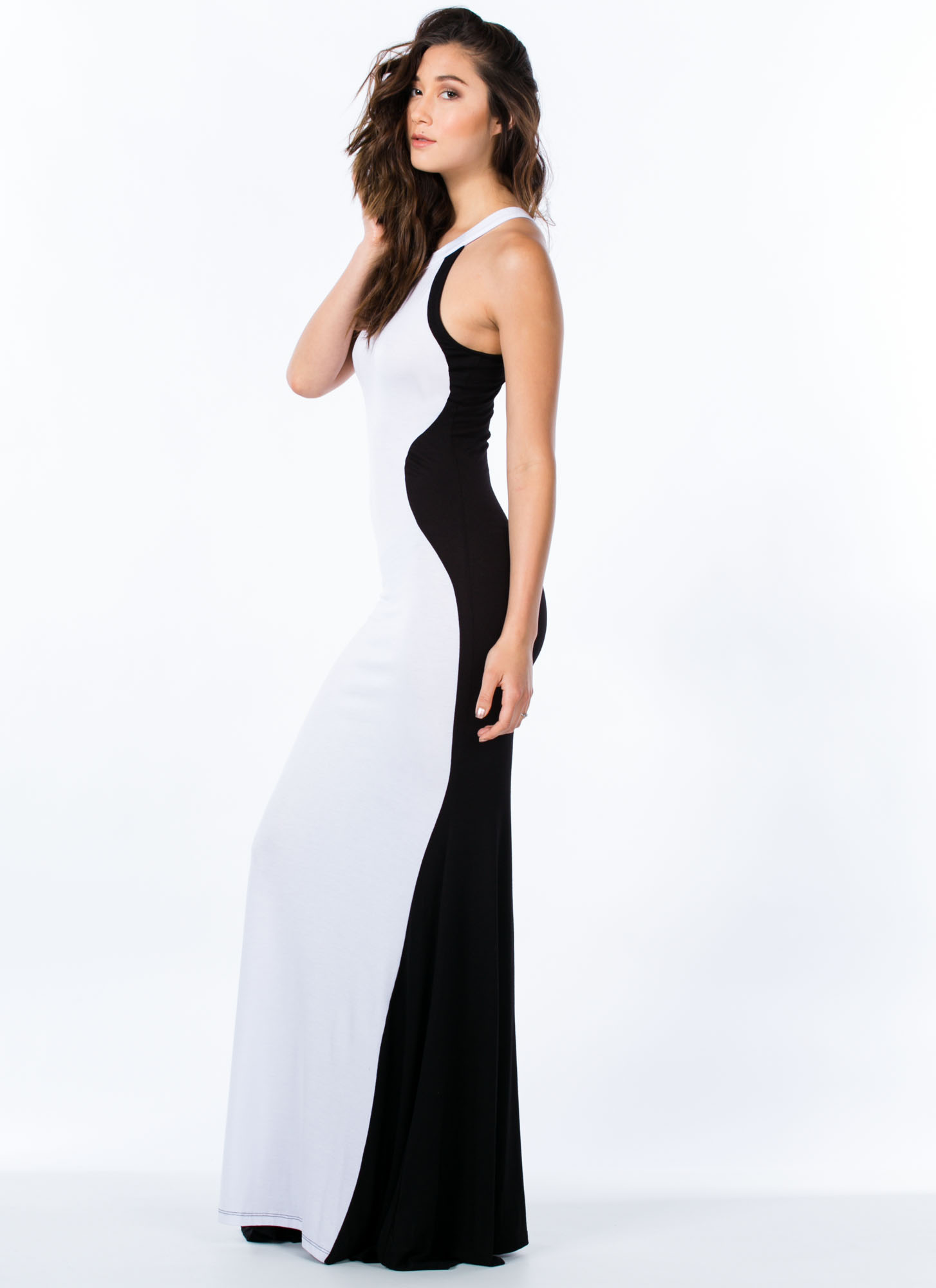Hourglass Figure Mermaid Maxi BLACKWHITE