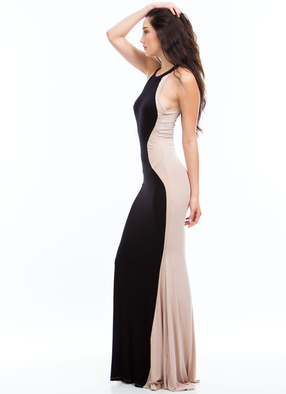 Hourglass Figure Mermaid Maxi TAUPEBLACK