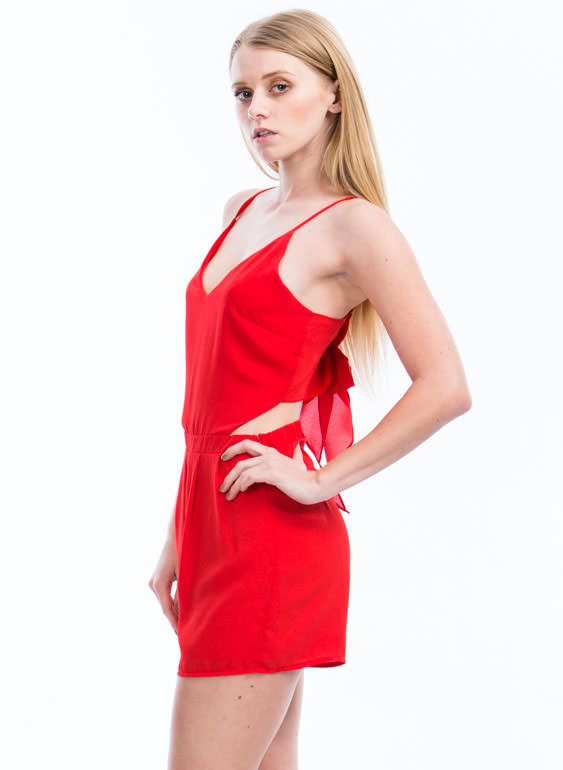 Tied For First Romper RED