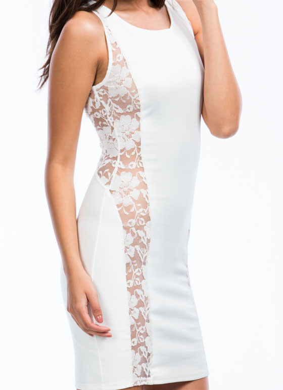 Lady In Lace Accent Dress IVORY