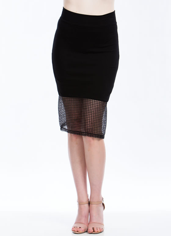 Grid For You Midi Skirt BLACK