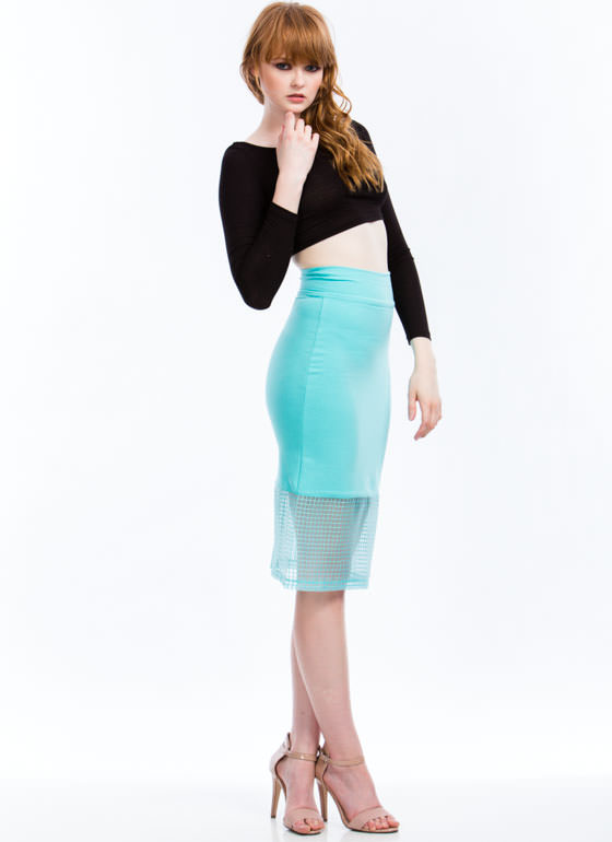Grid For You Midi Skirt MINT