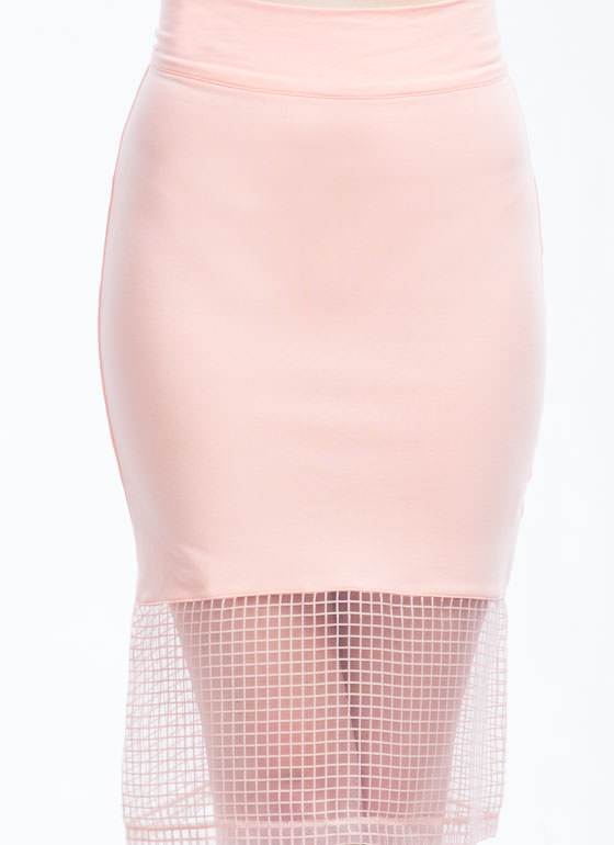 Grid For You Midi Skirt PINK