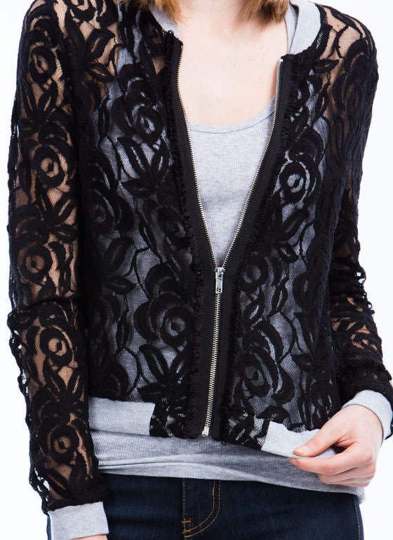Lace Yourself Bomber Jacket  BLACK