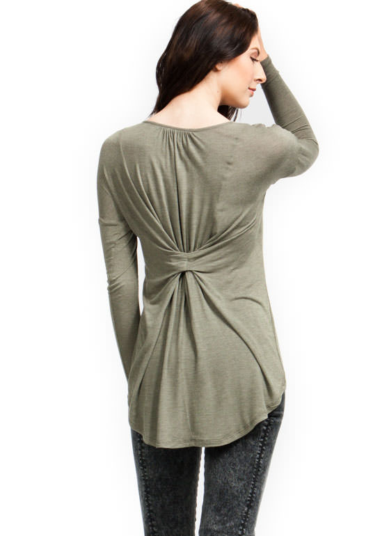 Cinched High-Low Top OLIVE