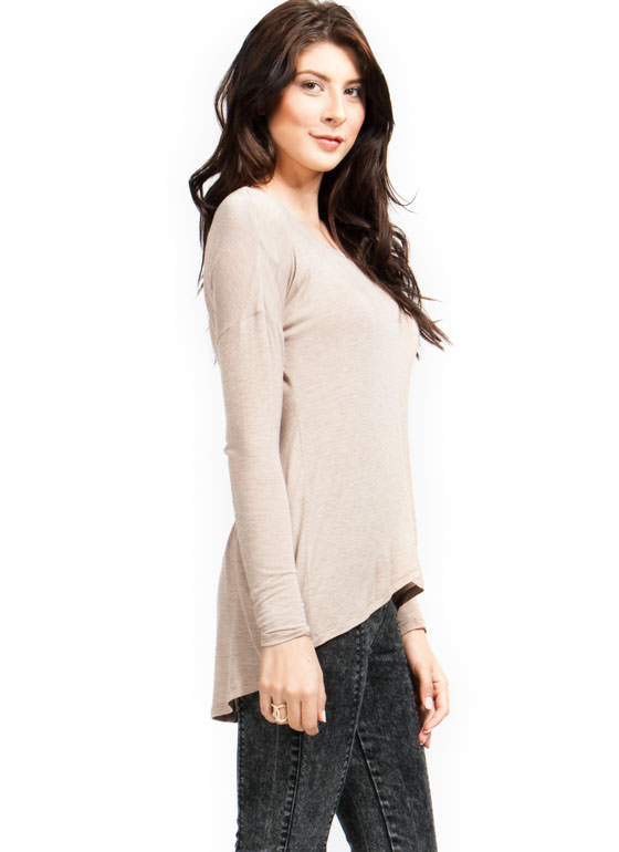 Cinched High Low Top TAUPE (Final Sale)