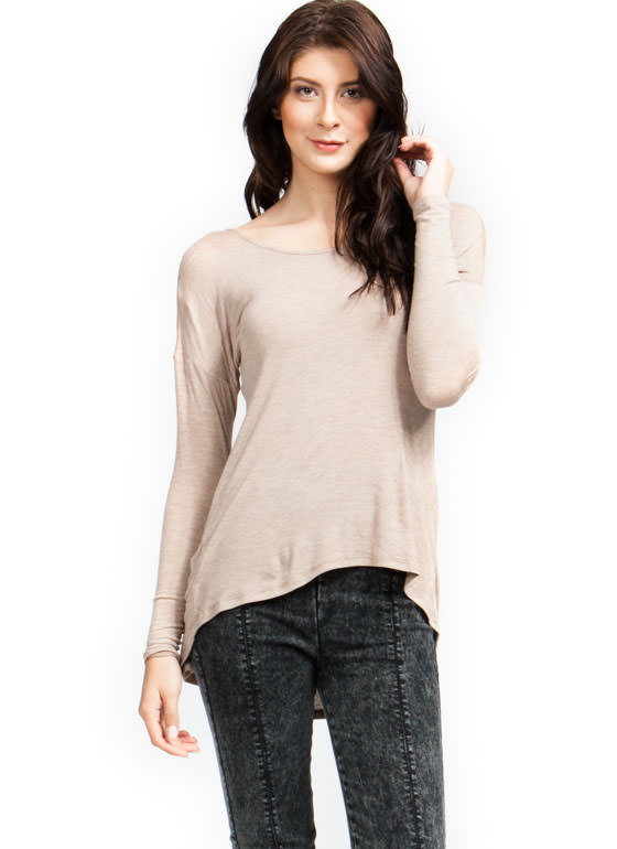 Cinched High-Low Top TAUPE