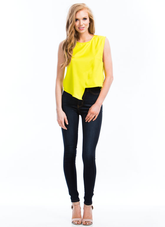 Button Back Asymmetrical Shell Top LIME