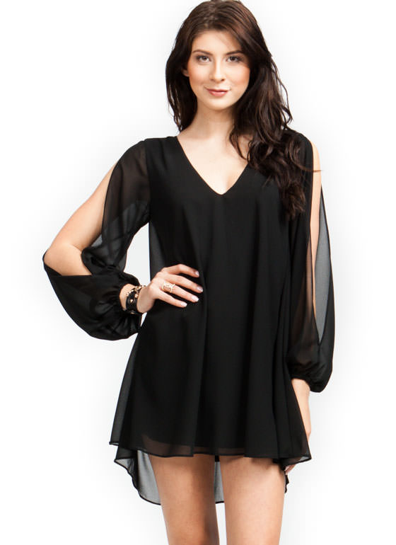 Miss Daisy Slit Sleeve Dress BLACK