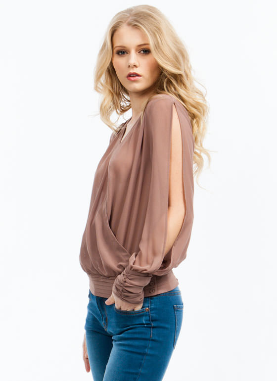 Surplice Pintuck Top MOCHA