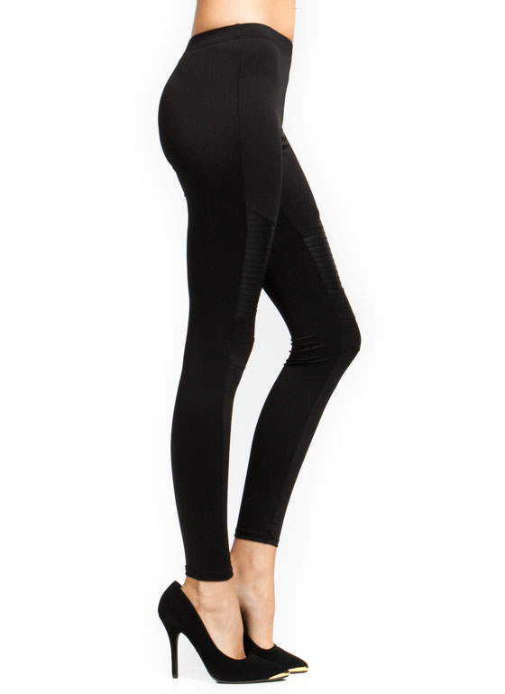 Slick Inset Moto Leggings BLACK