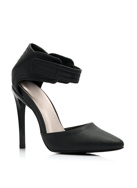Moto Inset Single-Sole Heels BLACK