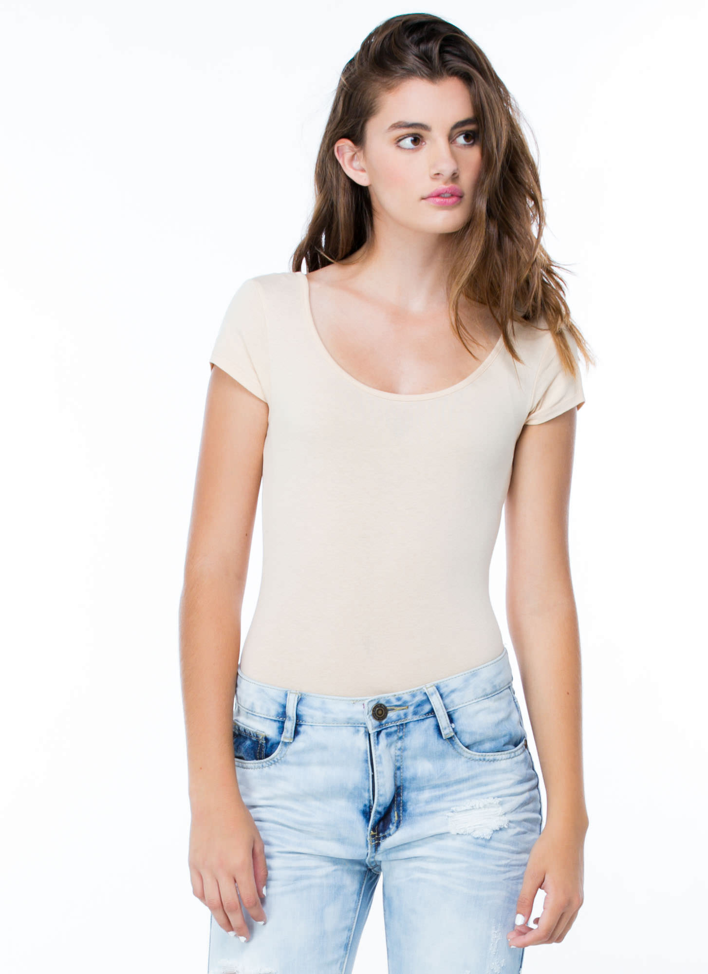 Close Fit Short-Sleeved Bodysuit TAUPE
