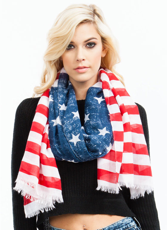 Bold Glory American Flag Scarf RED