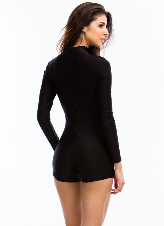 Single Lady Mockneck Romper BLACK