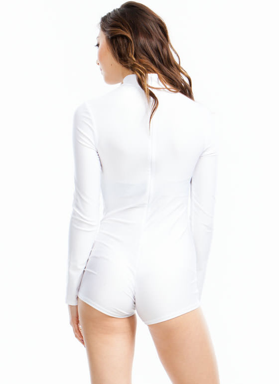 Single Lady Mockneck Romper WHITE