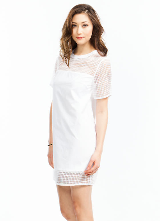 Grid the Line Shift Dress WHITE
