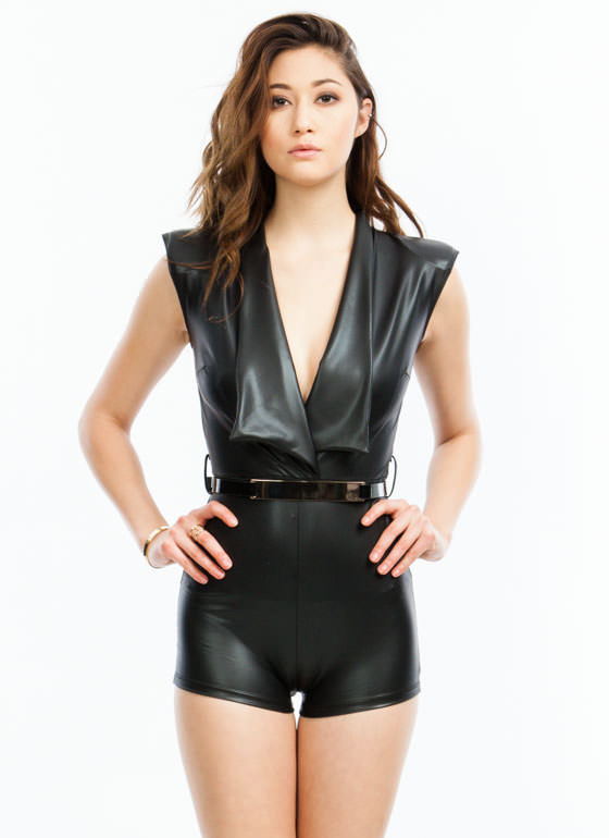 Gaga Faux Leather Romper BLACK