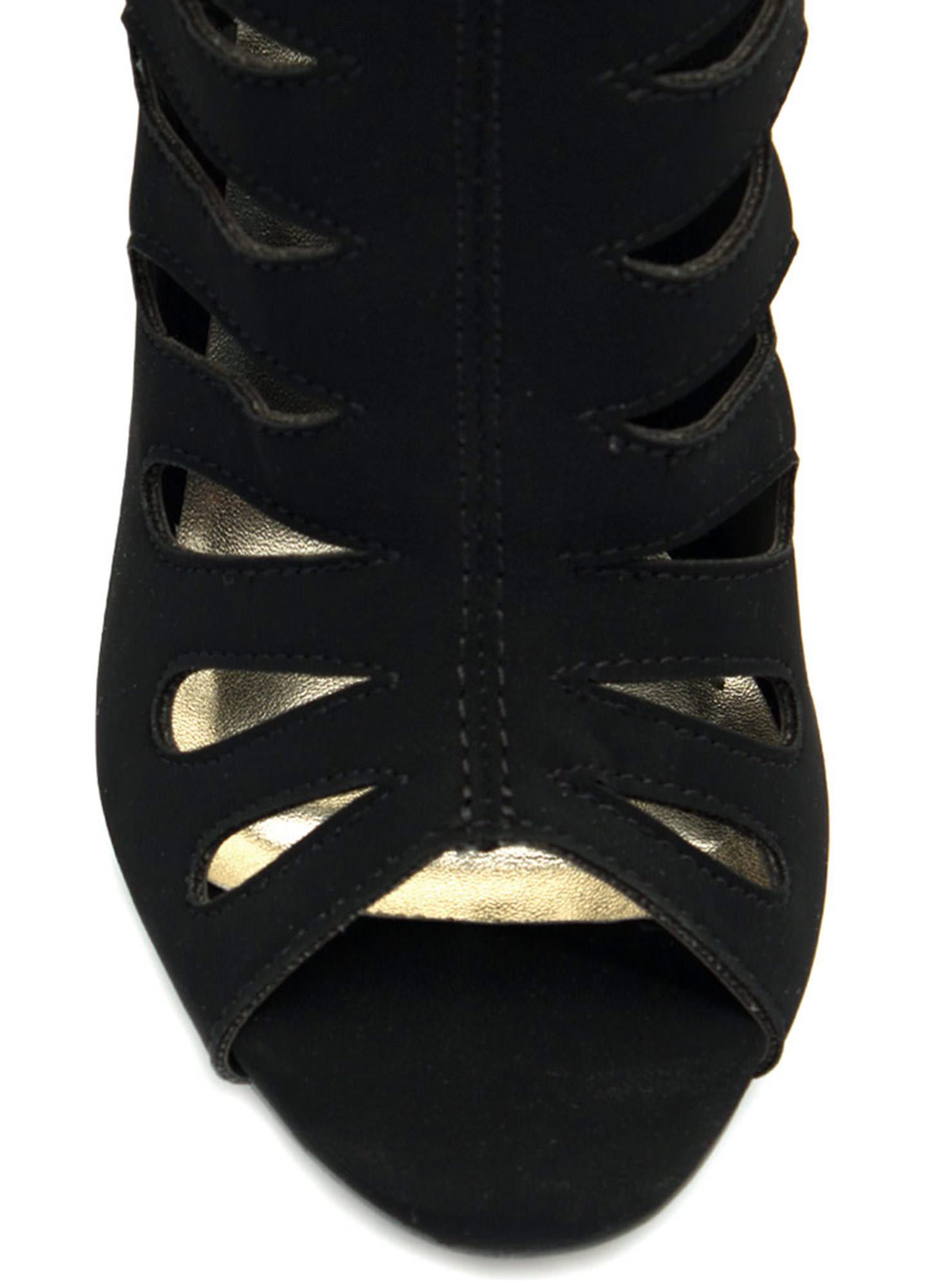 Droplet Caged Booties BLACK