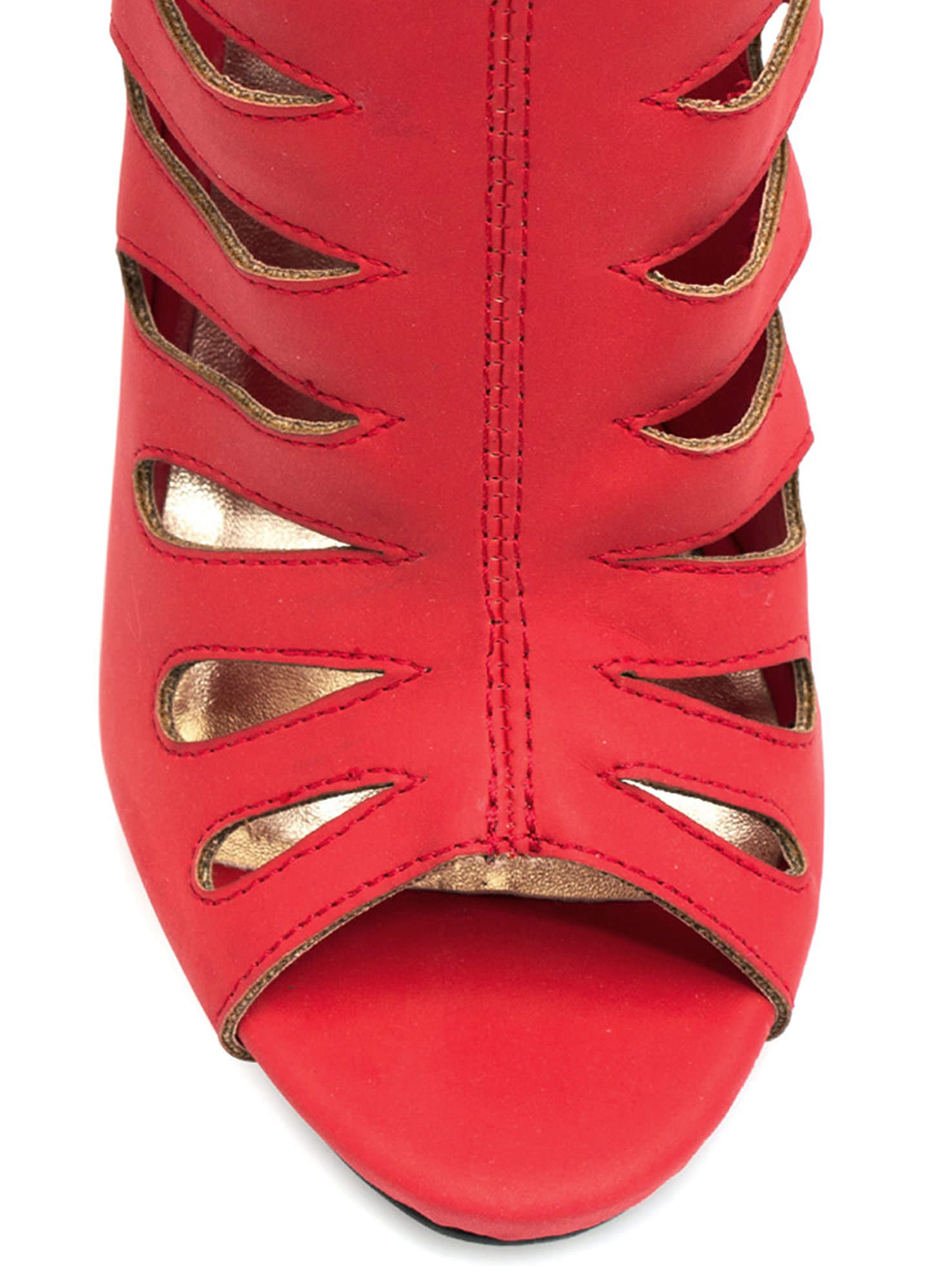 Droplet Caged Booties RED