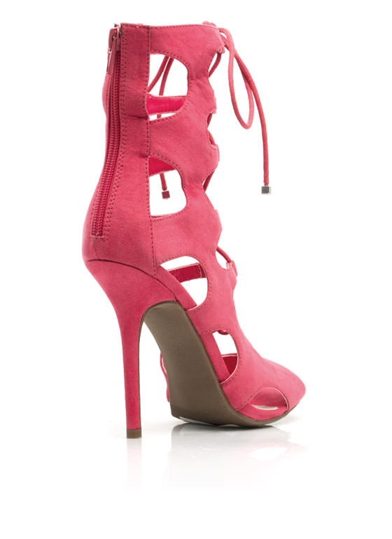 Hole Lotta Love Lace-Up Heels FUCHSIA