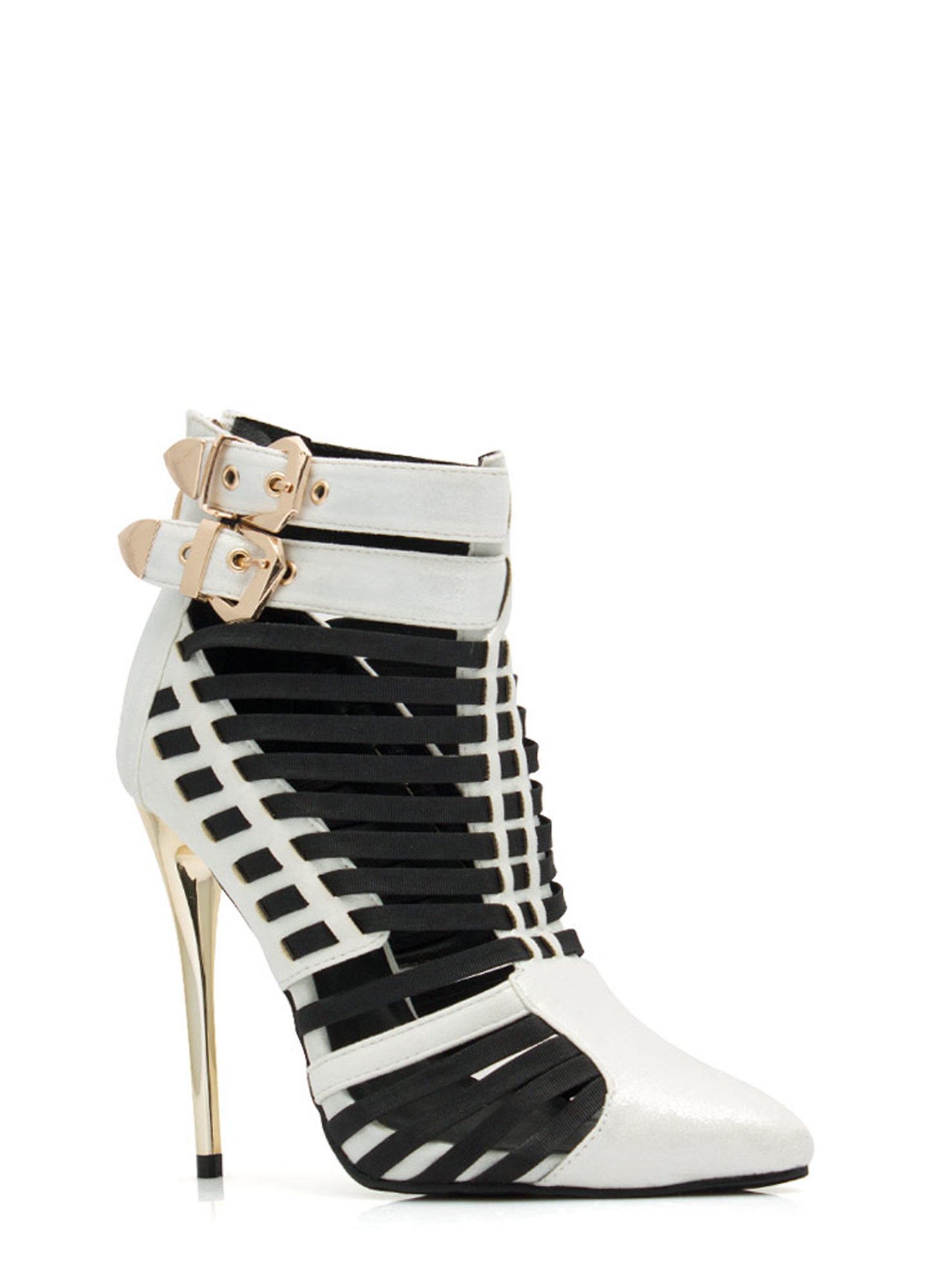 Weave It To Me Strappy Cord Booties SILVER