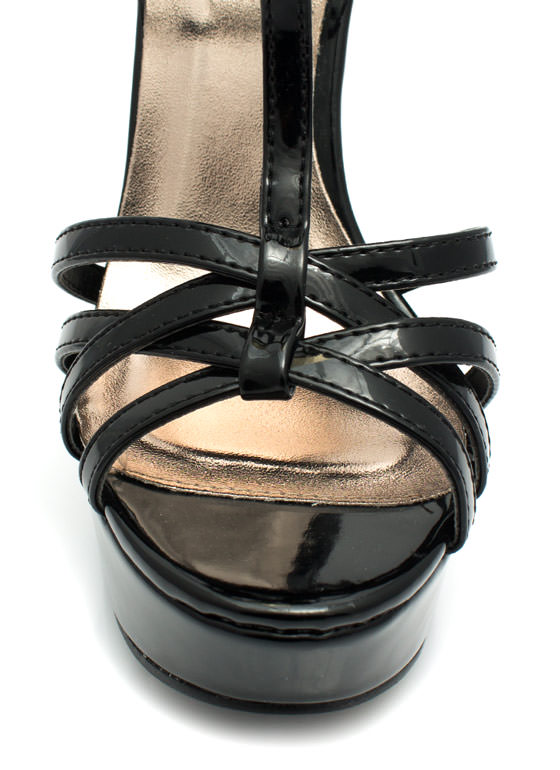 Get Hammered Strappy Ankle Cuff Heels BLACK (Final Sale)
