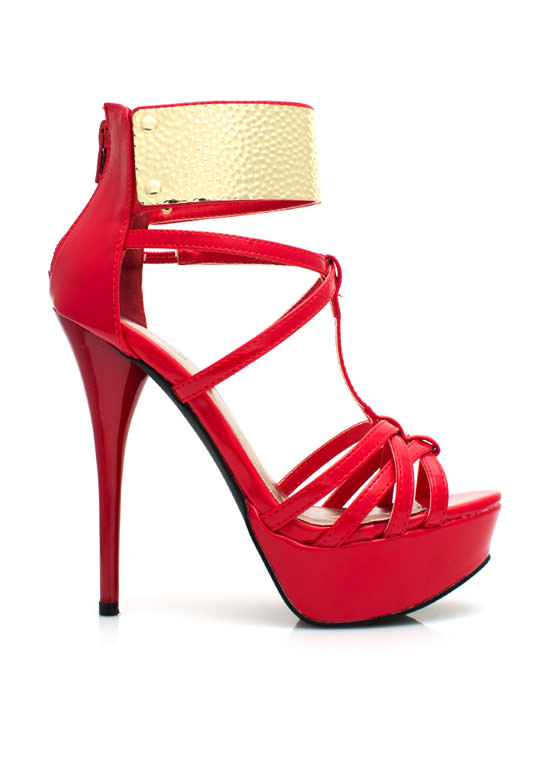 Get Hammered Strappy Ankle Cuff Heels RED