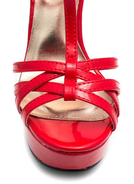 Get Hammered Strappy Ankle Cuff Heels RED (Final Sale)