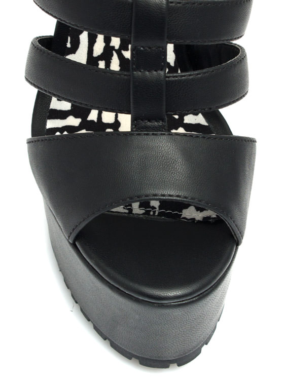 Feel A Little Quilty Strappy Platforms BLACK (Final Sale)