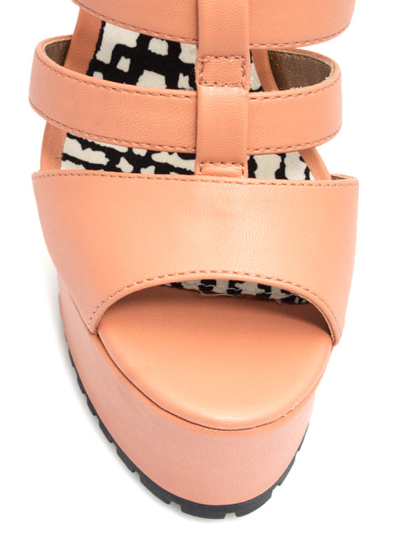 Feel A Little Quilty Strappy Platforms SALMON (Final Sale)