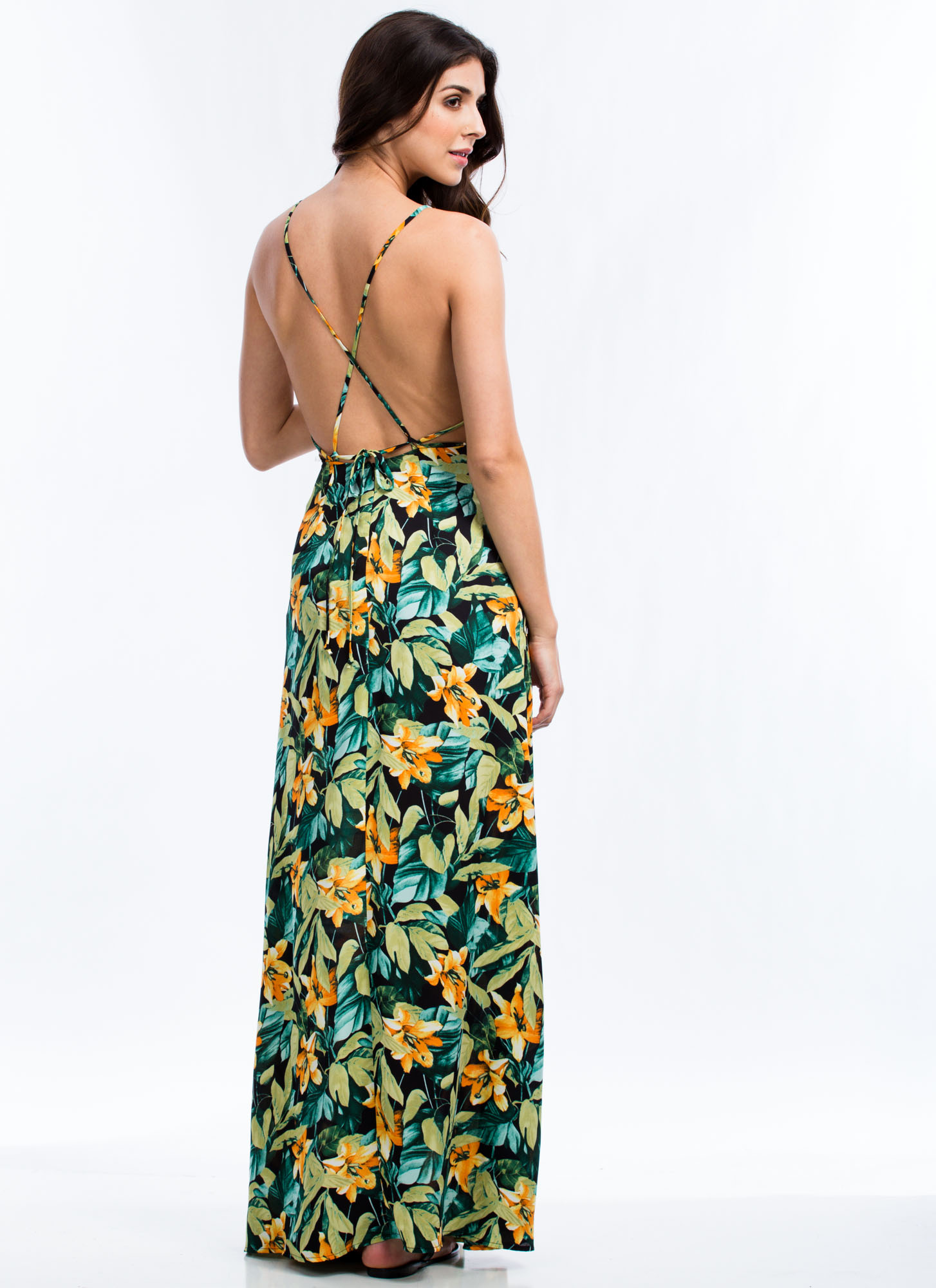 Tropical Daze Maxi Dress BLACKORANGE