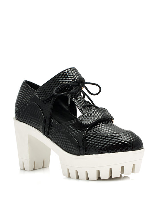 Let's Square Off Chunky Oxford Heels BLACK