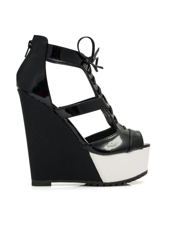 It Takes Two Tone Lace Up Wedges BLACK (Final Sale)
