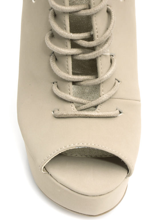Fan Out Faux Nubuck Lace-Up Booties TAUPE