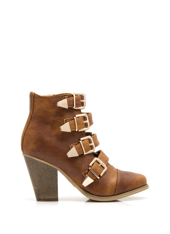 Strap-tastic Buckled Booties WHISKY