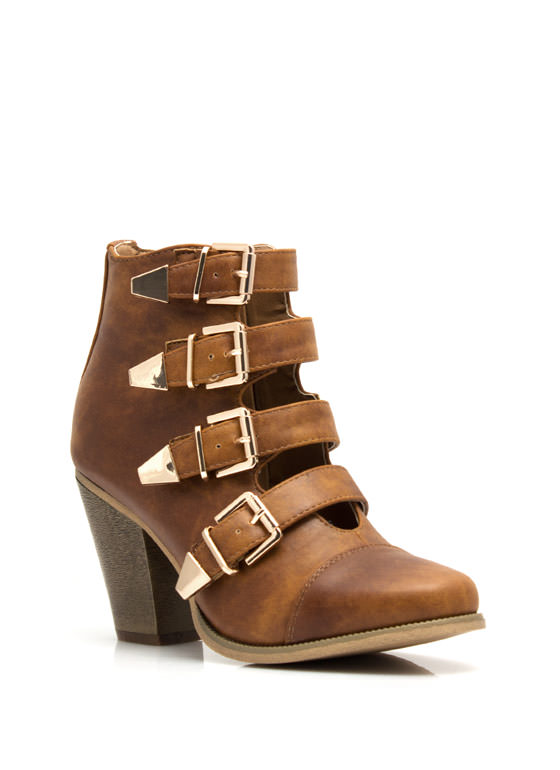 Strap tastic Buckled Booties WHISKY (Final Sale)