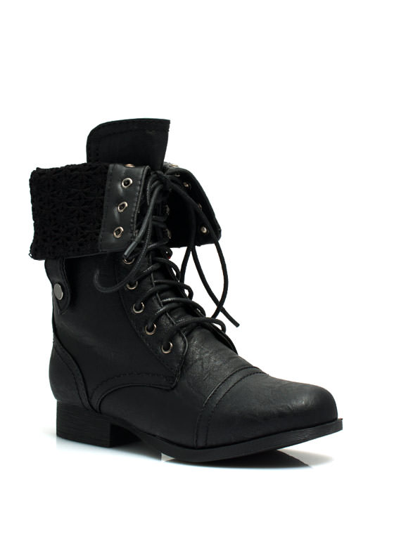 Convertible Lace Combat Boots BLACK