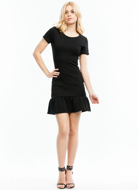 Diamond In The Ruffle Textured Dress BLACK