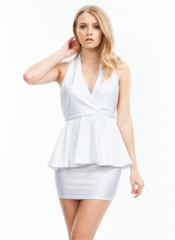 Pep-lum Talk Dress WHITE