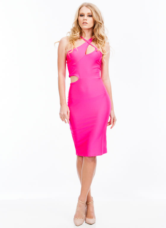 Cross Halter Cut-Out Midi Dress FUCHSIA