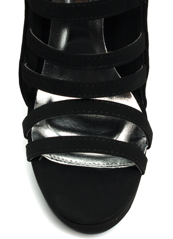 Run The World Faux Nubuck Heels BLACK