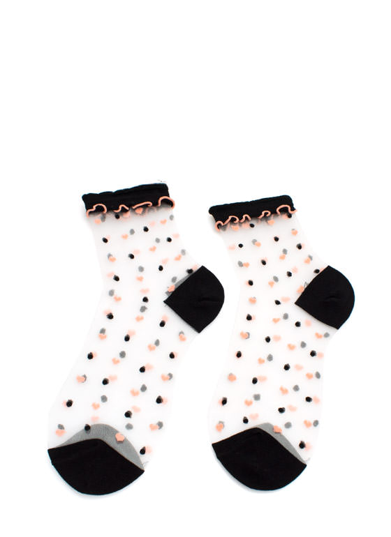 Heart And Polka Dot Sheer Mesh Socks BLACK