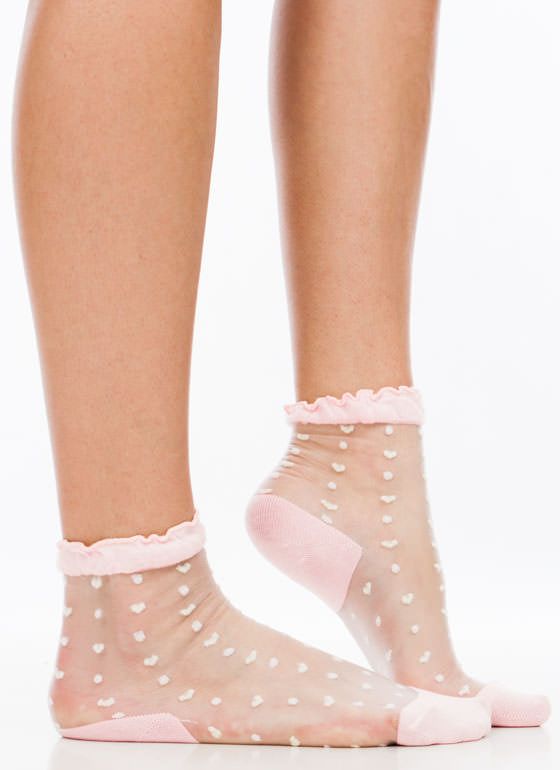 Heart And Polka Dot Sheer Mesh Socks PEACH