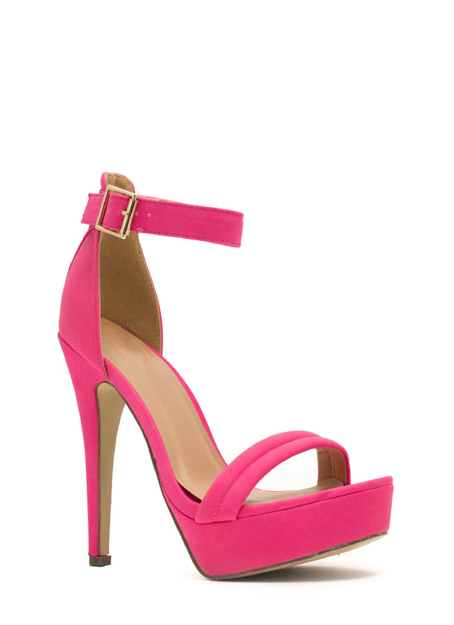 Barely There Platform Heels HOTPINK