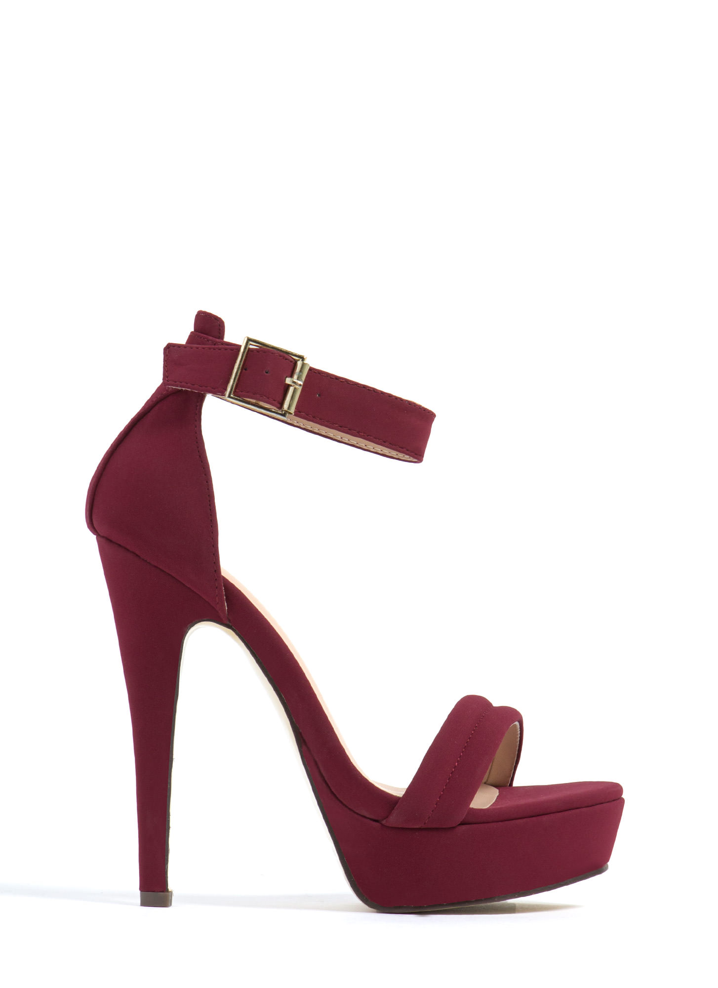 Barely There Platform Heels WINE