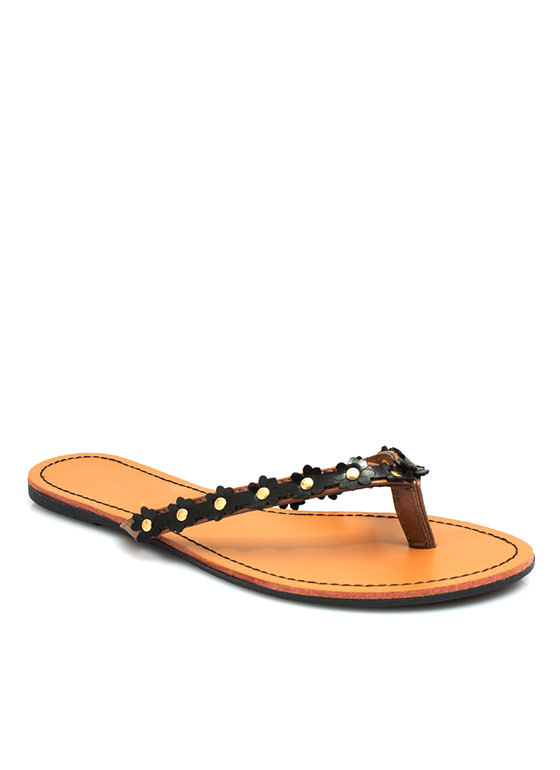 Petal To The Medal Thong Sandals BLACK
